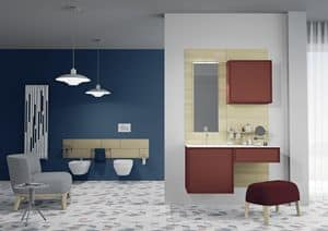Domino 07, Bathroom furniture, brightly colored, with mirror