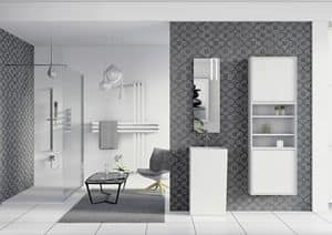 Domino 08, Bathroom furniture, mirror and wardrobe with shelves