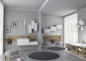 Domino 09, Bathroom furniture, with lacquered wall units