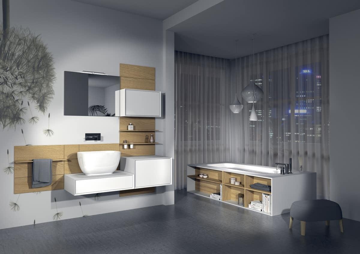 Bathroom furniture, customizable, various finishes  IDFdesign