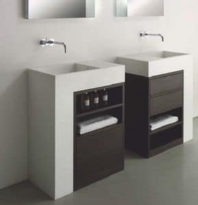 Elle comp.1, Bathroom furniture in Corian and wood, with drawers