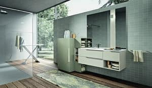 Giunone 414, Bathroom furniture composition with a cabinet for the washing machine