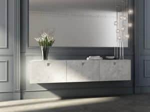 Kube 01, Bathroom cabinet with front doors in Carrara marble finish