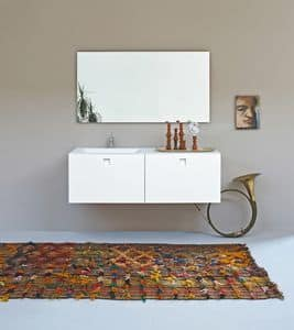 Kube 02, Minimalist bathroom, with integrated sink, white colour