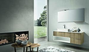 Kyros 108, Bathroom furniture made of oak and white lacquered finishings