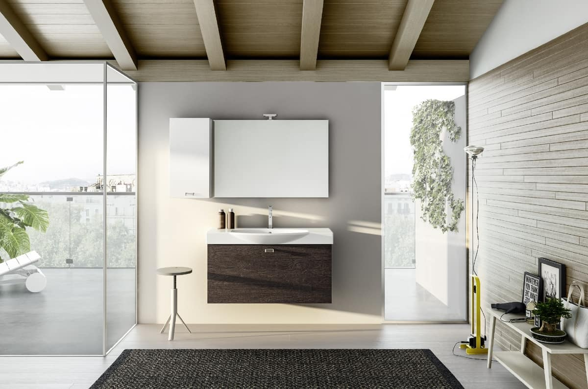 Wall-mounted bathroom cabinet, mirror with LED light | IDFdesign