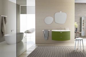Lime Ø comp.32, Curved bathroom cabinet, with two big drawers