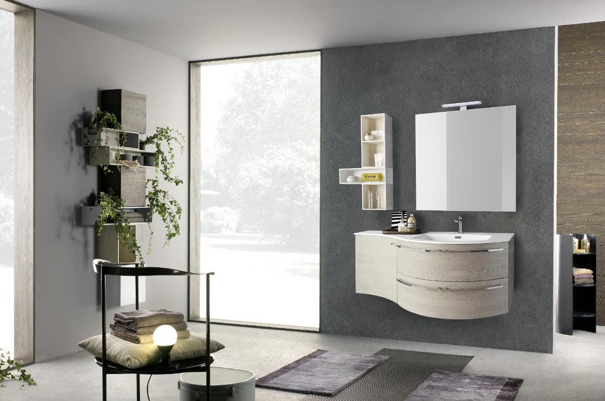 Bathroom curved cabinet, with mineralmarble washbasin | IDFdesign