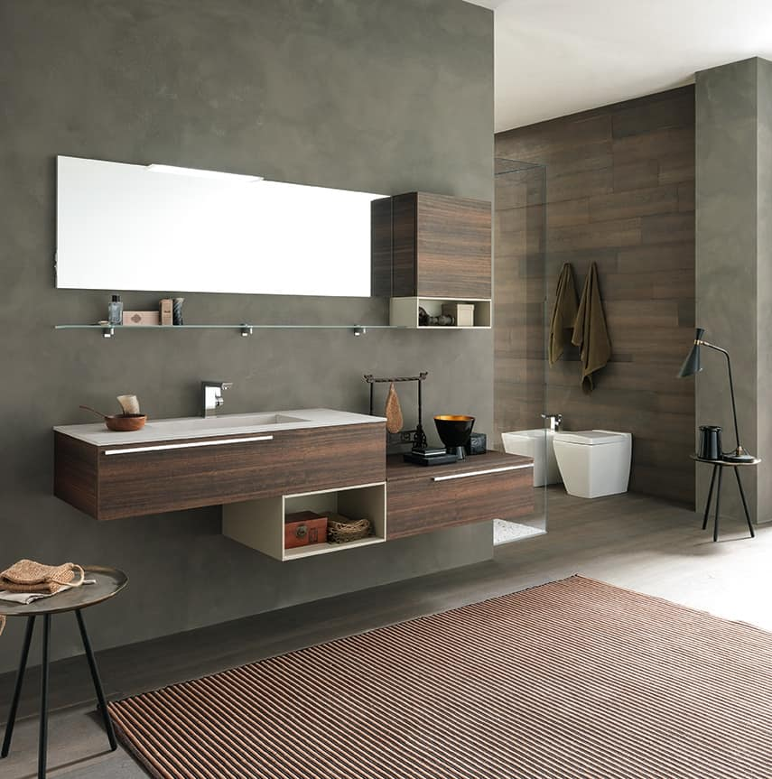 Lime Ø comp.40, Bathroom furniture with large washbasin and shelves