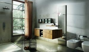 Maia 301, Bathroom furniture with shelf with retractable faucet