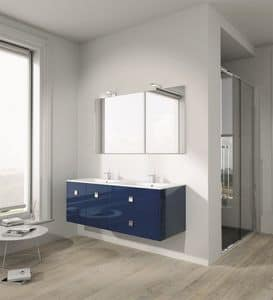 Singoli S 25, Bath composition with glossy finish, chrome handles