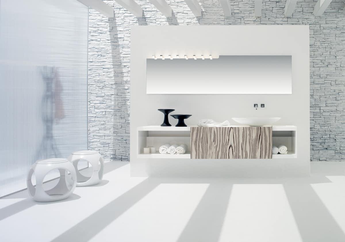Washbasin Base For Bathroom White Matt With Sliding Door In White