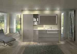 Torana TR 013, Glossy lacquered furniture for bathroom, modular