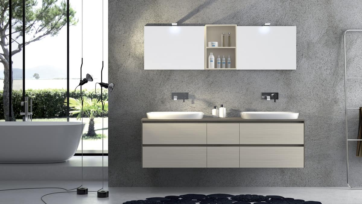 Torana TR 001, Furniture with 2 sinks, with tranchè top