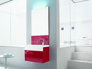 Trenta5 02, Shiny red bathroom washbasin cabinet, with decorated mirror