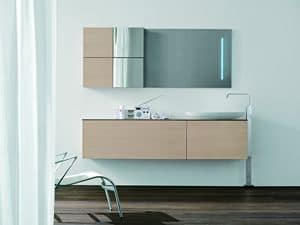 Trenta5 03, Bath composition, white oak finish, with wall units