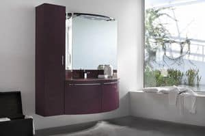 Up & Down 02, Bathroom cabinet with hanging column, rounded doors