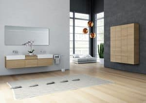 Yumi 01, Bathroom cabinet with drawers, with integrated sink