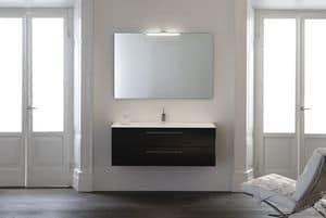 Yumi 03, Bathroom cabinet with two drawers, wenge oak finish, Tecnoril sink