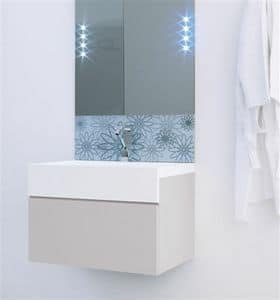 Fiori mirror, Bathroom mirror with floral pattern serigraphy