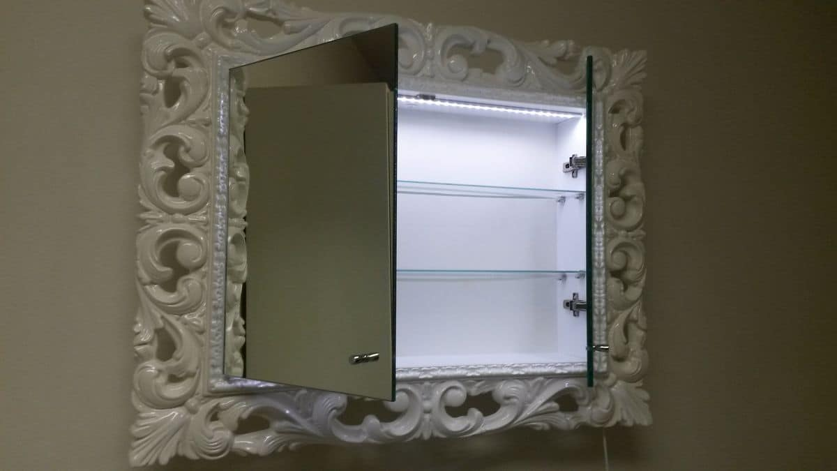Memo mirror, Lacquered mirror for bathroom with interior shelves