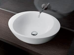 ACCENT BASIN, Round countertop washbasin in ceramic