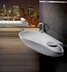 ACCENT CR BASIN, Washbasin in ceramic, drop-shaped