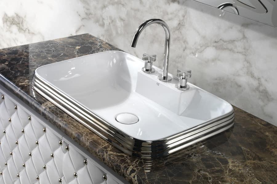 CLASS RECTANGULAR BASIN, Luxury washbasin in ceramic