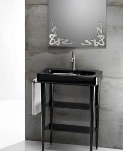 FUSION 65 DELUXE BASIN, Washbasin in ceramic with console made of metal and glass