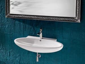 LENTE BASIN, Washbasin in ceramic, oval shake