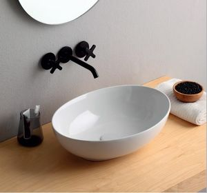 Mini Shell, Oval ceramic washbasin