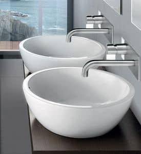 OVAL BASIN, Round countertop washbasin in ceramic