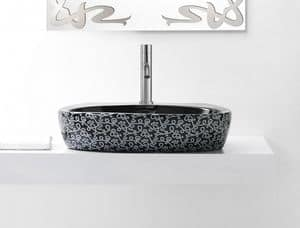 OVAL DECO BASIN, Black colored washbasin in ceramic