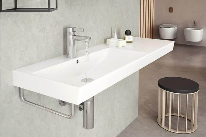 Ceramic Basin With Lateral Support IDFdesign - Bathroom sink set up