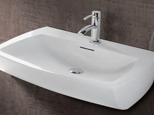 SQUARE BASIN, Wall-hung washbasin in ceramic