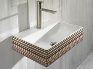 THIN CR BASIN, Wall-hung washbasin with taphole