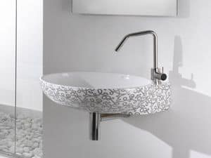 THIN OVAL CR BASIN, Wall-hung washbasin with taphole
