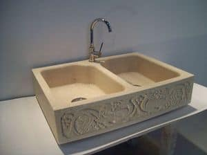 Venezia, Double sink made of Vicenza stone, for the kitchen