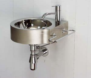 Wing, Handwashing in polished steel, for domestic use