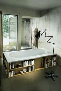 Book, Bathtub with library embedded in the walls