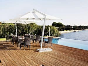 Copacabana, Square umbrella, in aluminum and steel, for garden and bar