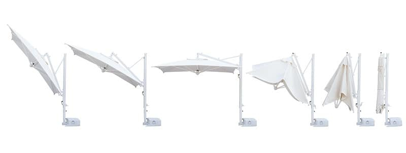Galileo White retractable, Parasol with retractable opening for professional use