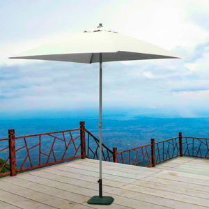 Garden parasol 2x2 aluminum square central pole bar hotel PLUTO - PL200UFR, Square aluminum parasol with central pole
