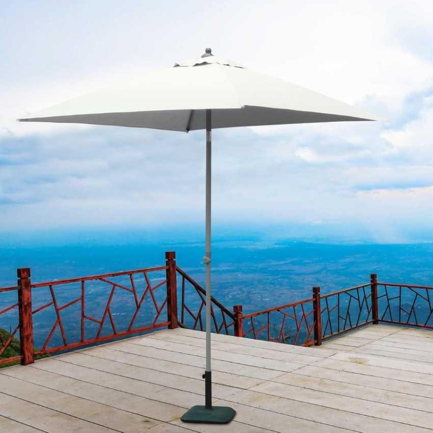 Garden parasol 2x2 aluminum square central pole bar hotel PLUTO - PL200UFR, Square aluminum parasol with central pole