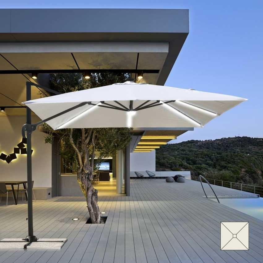 Garden parasol with LED Solar Light 3x3 square aluminum arm PARADISE - PA303UVL, Parasol with LED light and integrated solar panel