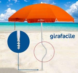 Patented beach umbrella Girafacile � GF200COT, Umbrella maximum sun protection for beach
