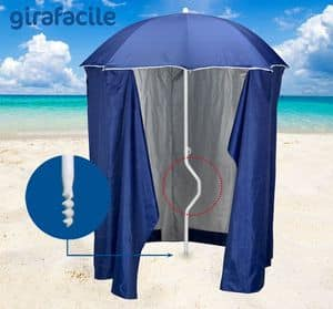 Patented beach umbrella Girafacile � GF200TUV, Beach umbrella with tent for beaches