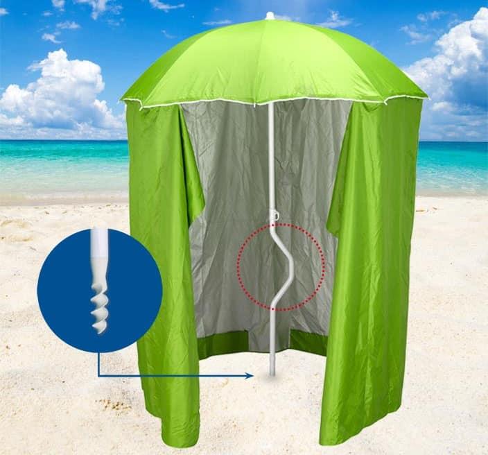 Patented beach umbrella Girafacile – GF200TUV, Beach umbrella with tent for beaches