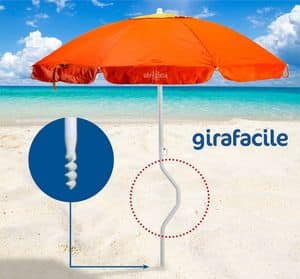 Patented beach umbrella Girafacile � GF200UVA, Beach Umbrella easy mounting