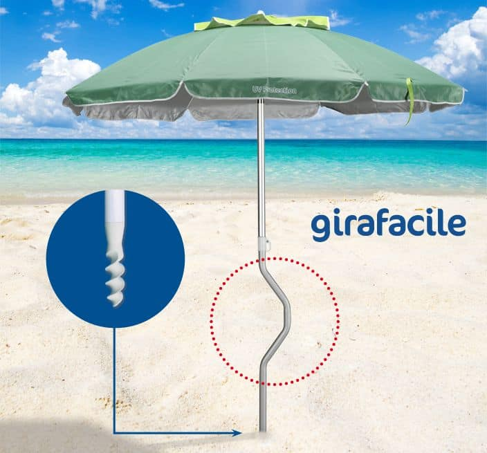Patented Beach Umbrella Girafacile Gf20aluv Sun With Drill Bit For Easy Ing
